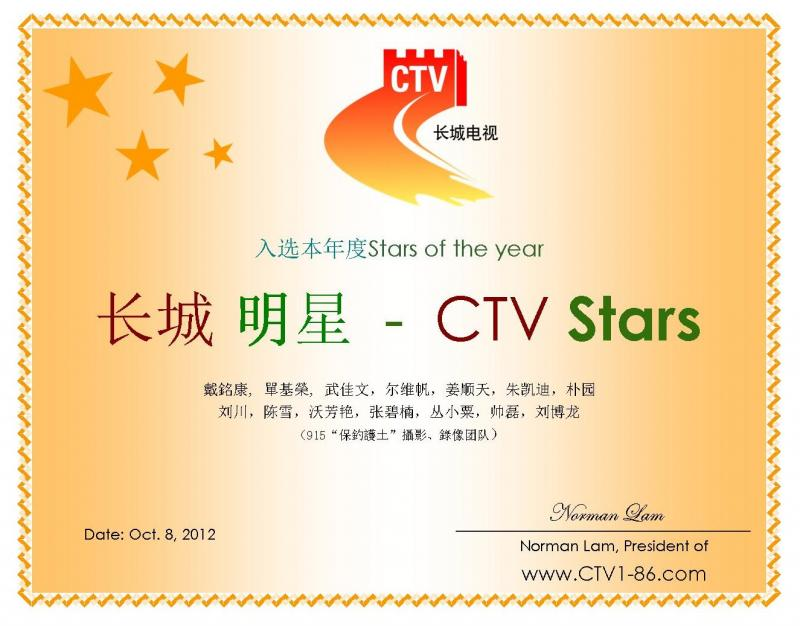Certification of CTV Stars